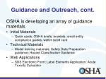 guidance and outreach cont