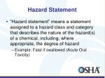hazard statement