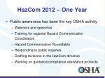 hazcom 2012 one year