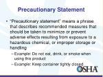 precautionary statement