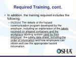required training cont