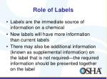 role of labels