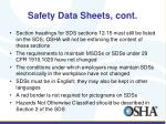 safety data sheets cont