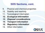 sds sections cont
