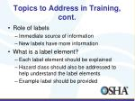topics to address in training cont