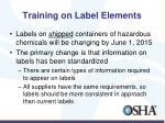 training on label elements