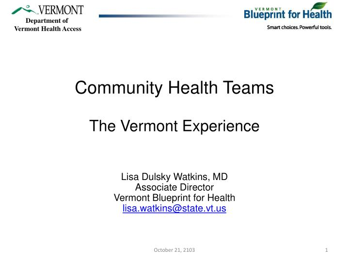 community health teams the vermont experience n.