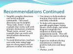 recommendations continued