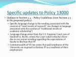 specific updates to policy 130003