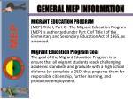 general mep information