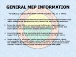 general mep information1
