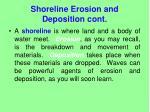 shoreline erosion and deposition cont