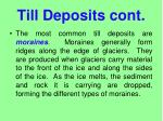 till deposits cont
