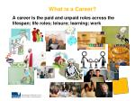 a career is the paid and unpaid roles across the lifespan life roles leisure learning work