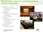 rda plenaries venue for community building and wg ig progress