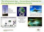 the information age extraordinary p otential for driving science and bettering society