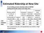 estimated ridership at new site