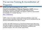 pre service training accreditation of programs