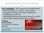 organizations who provide trainings