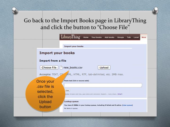 Go back to the Import Books page in