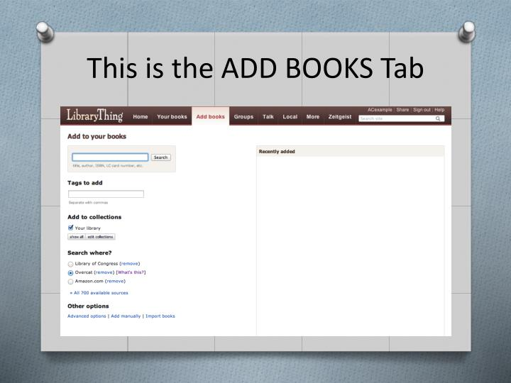This is the ADD BOOKS Tab