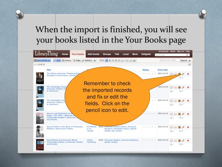 When the import is finished, you will see your books listed in the Your Books page