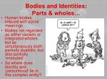 bodies and identities parts wholes