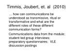 timmis joubert et al 20101