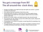you got a message from illi the all around the clock diary