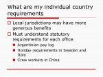 what are my individual country requirements