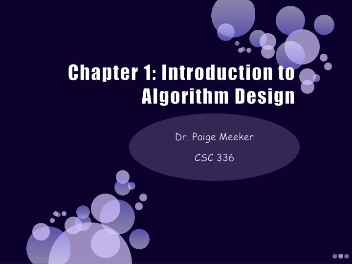 chapter 1 introduction to algorithm design n.