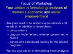 focus of workshop your advice in formulating analyses of w omen s economic and social empowerment