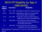 mch fp eligibility by age in 1996 mhss