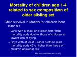 mortality of children age 1 4 related to sex composition of older sibling set