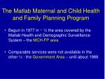 the matlab maternal and child health and family planning program