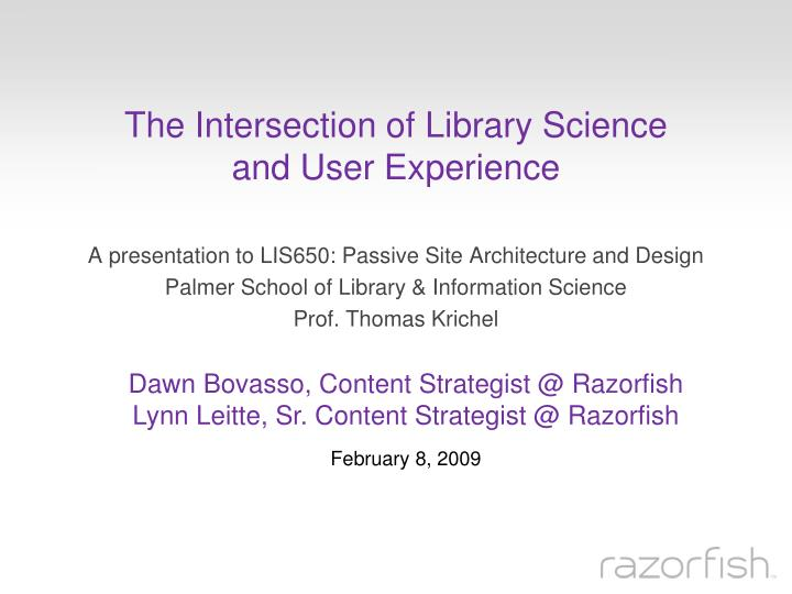 the intersection of library science and user experience n.