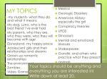 my topics