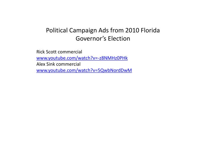 Political Campaign Ads from 2010 Florida Governor's Election