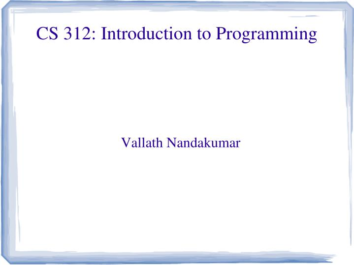 cs 312 introduction to programming n.