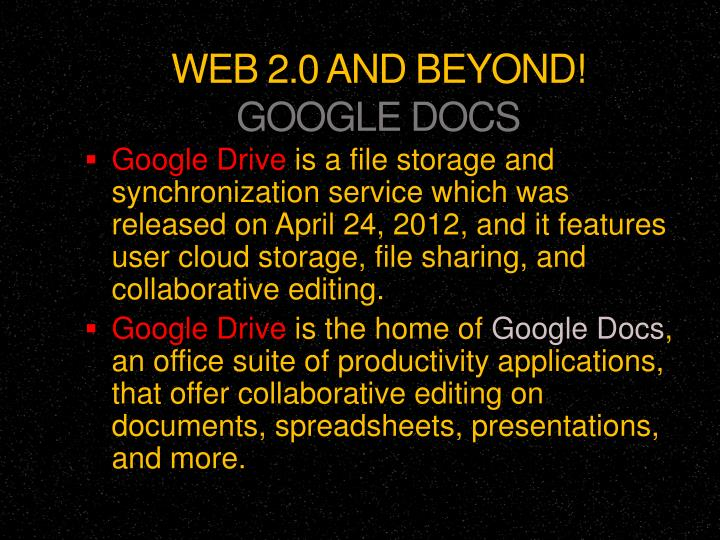 ppt web 2 0 and beyond google docs powerpoint presentation id