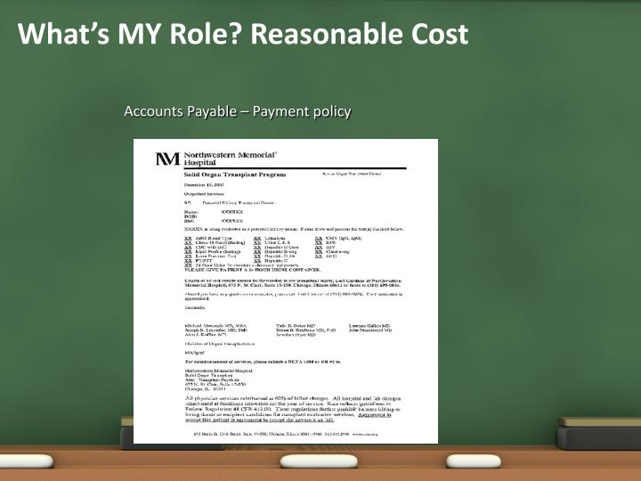 What's MY Role? Reasonable Cost