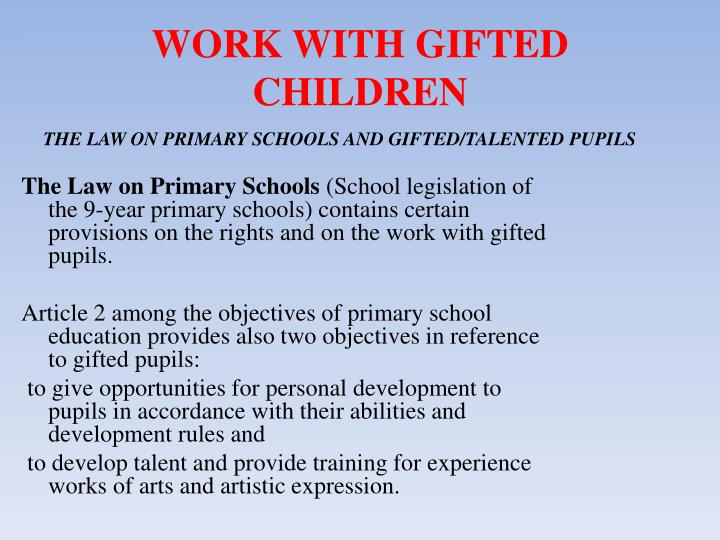 GIFTED CHILDREN PowerPoint Presentation