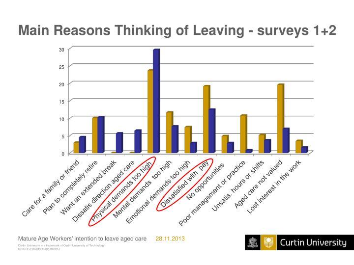 Main Reasons Thinking of Leaving - surveys 1+2