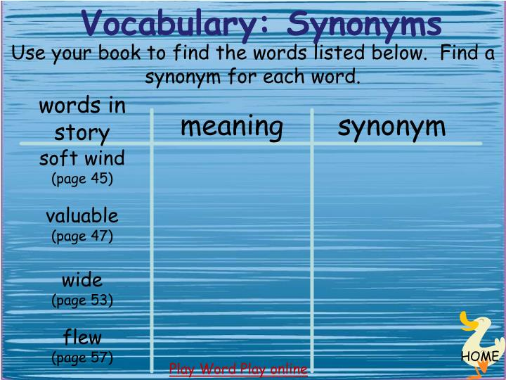 Vocabulary: Synonyms