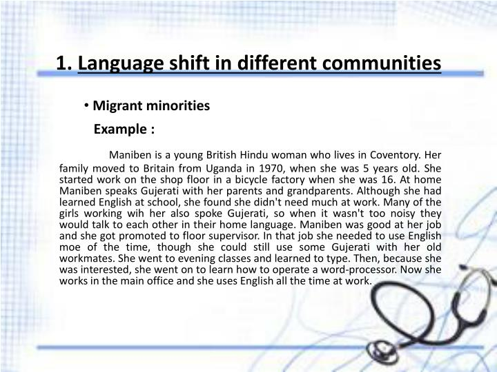 1 language shift in different communities