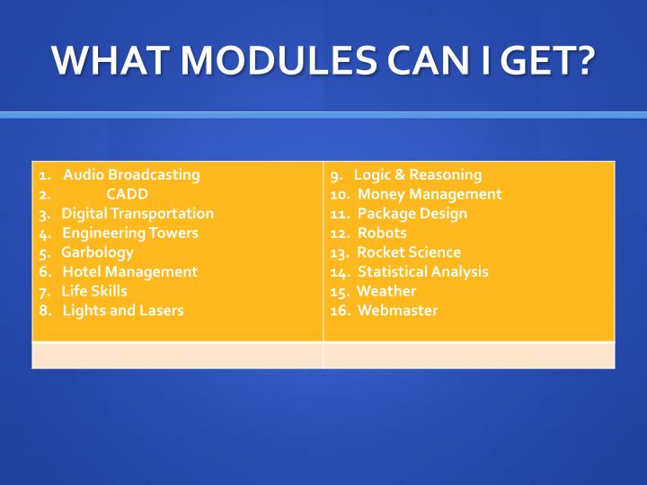 WHAT MODULES CAN I GET?