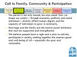call to family community participation