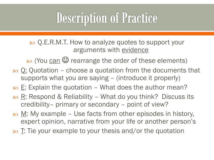 Description of practice