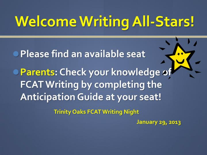PPT Welcome Writing All Stars PowerPoint Presentation