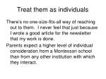 treat them as individuals